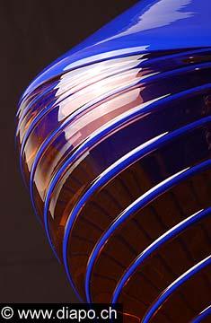 524 - Verre soufflé, doublé de couleur, incalmo, cannes en relief -'Incalmo Vessel', 1994 - Philip Baldwin/Monica Guggisberg (USA/CH)
