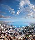 10492 - Photo: Genève vue du ciel et le lac Léman - Geneva Lake