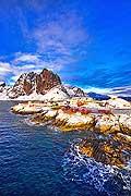 11200 - Photo :  Norvège,  Arctique, îles Lofoten, île de Moskenesoy, village de pêcheurs de Hamnoy près de Reine