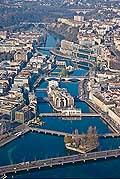 13729 - Genève vue du ciel, Geneva, Pont du Mont Blanc, Lac Léman