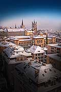 9606 - Photo: Suisse, Ville de Lausanne, le Palais de Rumine et la Cath�drale sous la neige - city of Lausanne, Switzerland
